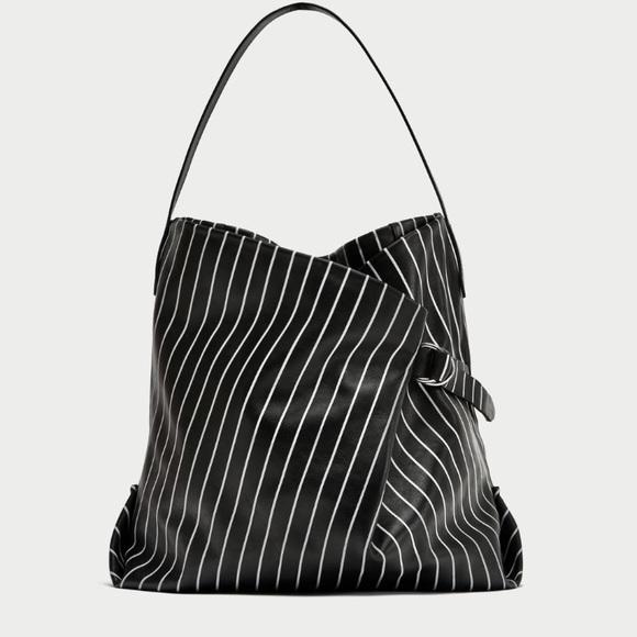76b32780d2 ZARA Striped Print Genuine Leather Bucket Bag